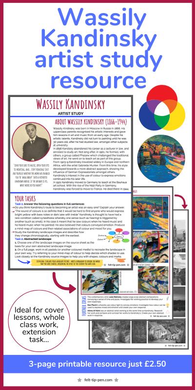 Kandinsky artist study resource worksheet landscape colour