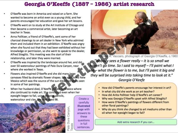 Georgia O'Keeffe artist research