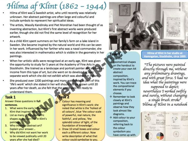 Hilma Af Klint artist study worksheet