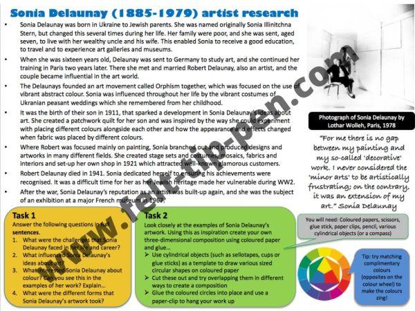 Sonia Delaunay artist study worksheet