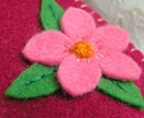 Pretty pink cherry flower needle wallet
