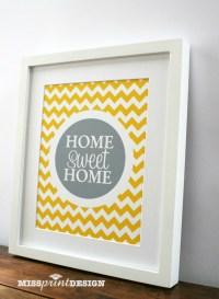 HOME sweet HOME Chevron Wall Art Print 8x10   Felt