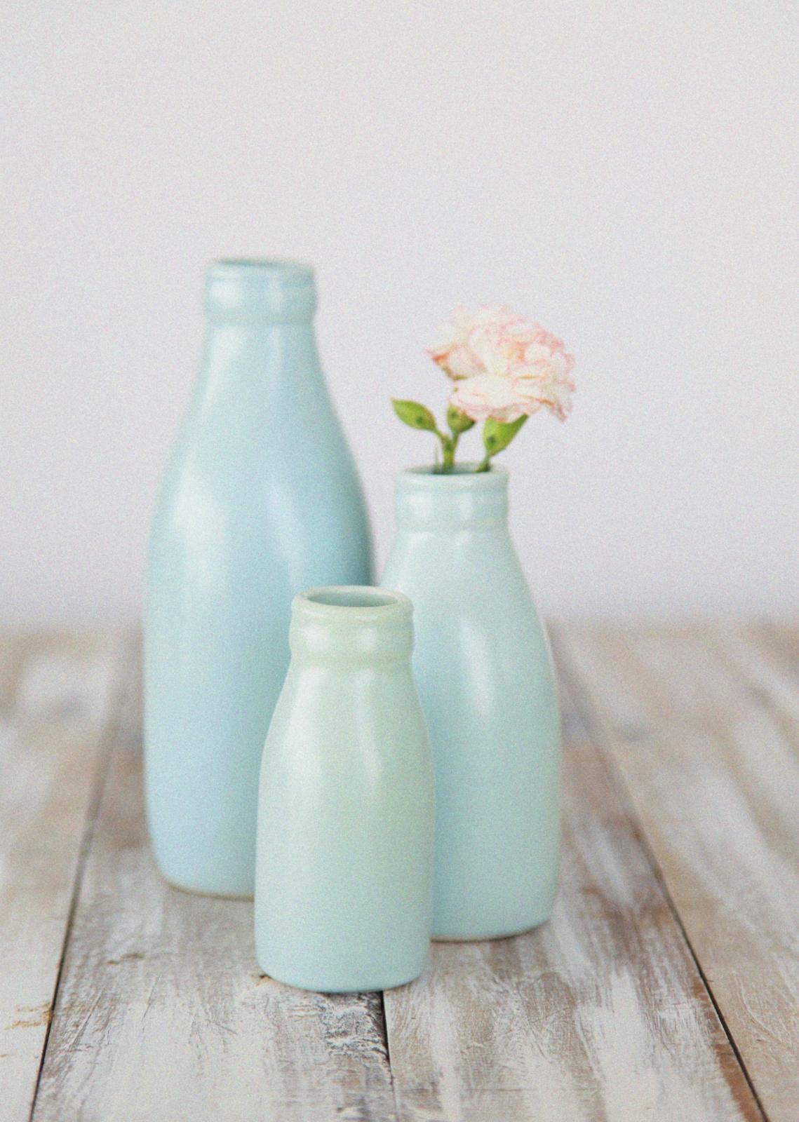 Small DuckEgg Blue Milk Bottle Vase  Felt