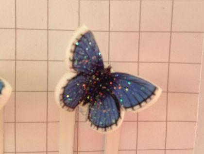 butterfly blue 3d hair clips felt