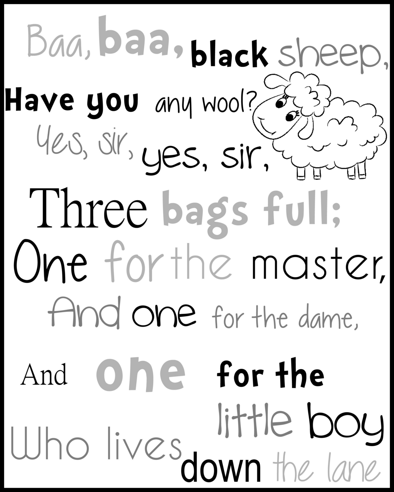 Printable Nursery Rhyme Baa Baa Black Sheep