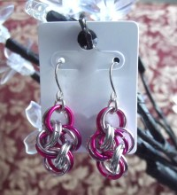 HOT PINK, & BABY PINK & SILVER Chainmail Earrings | Felt