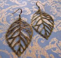 Large brass filigree leaf earrings   Felt