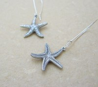 Silver Starfish earrings: lifelike, double-sided, antiqued ...