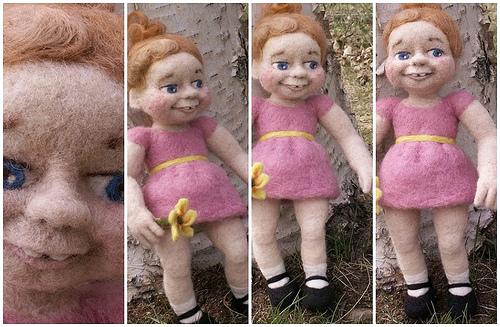 Original Felt Alive Needle Felted Wool Art Doll - Sculptural Needle Felting by Kay Petal