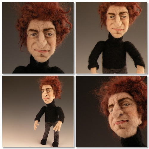 Bob Dylan needle felted wool doll by needle felt artist Kay Petal