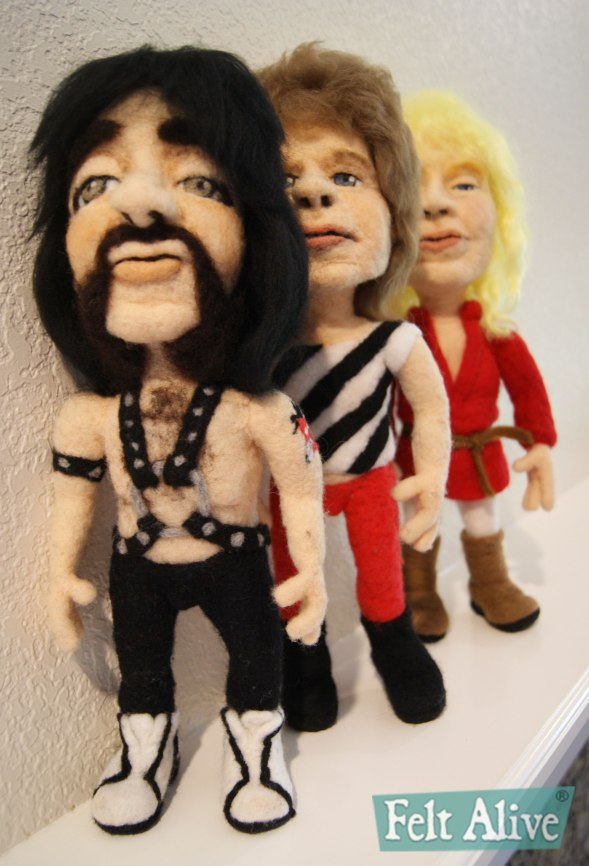 This is Spinal Tap caricature dolls needle felted by Kay Petal Felt Alive