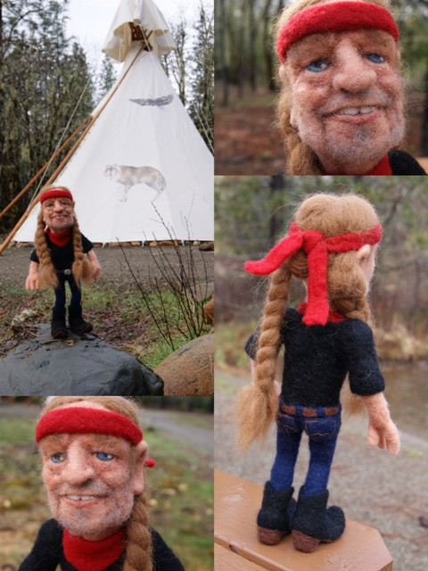 Li'l Willie Nelson Needle Felted Wool Art Doll