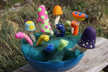 garden art needle felting workshop
