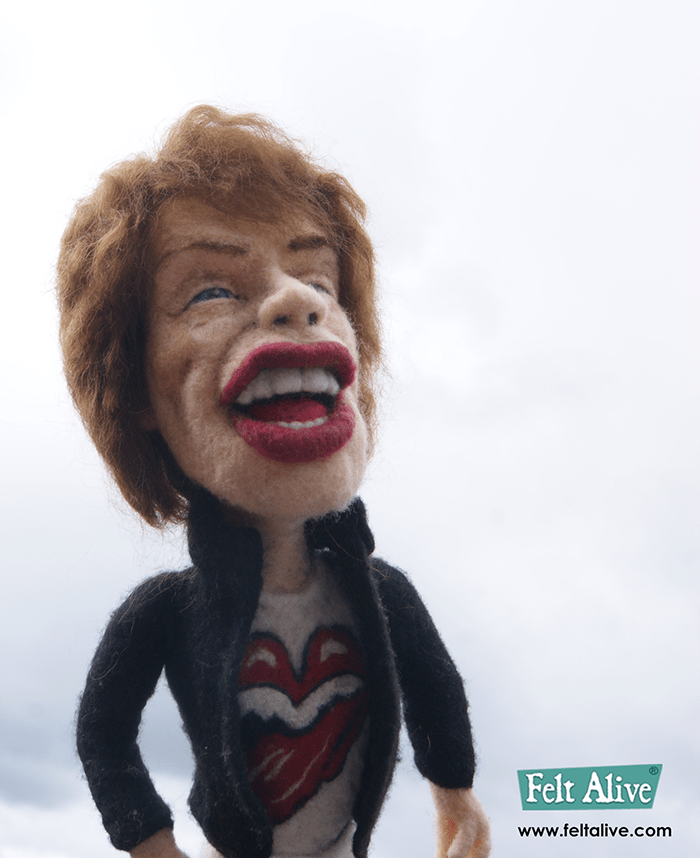 needle felted wool Mick Jagger caricature doll by Kay Petal – Felt Alive Wool Sculptures