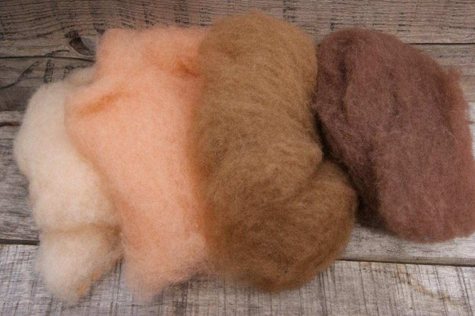Felt Alive Flesh Tones Wool Batting for Needle Felting