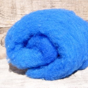 Kettle Dyed Needle Felting Wool Blue 1 Ounce Batt
