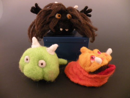 needle felting class - sculpting wool monsters