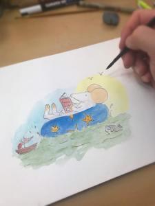 Kris Miners beim Zeichnen