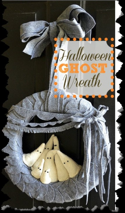 Halloween Felt Ghost Wreath