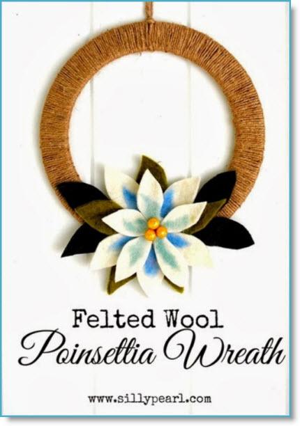 Felted Wool Poinsettia Wreath