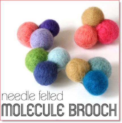 Needle Felted Molecule Brooch