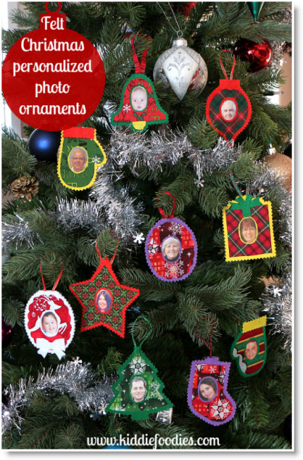 Felt photo Christmas ornaments