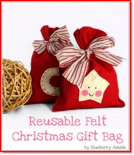 reusable felt Christmas gift bag