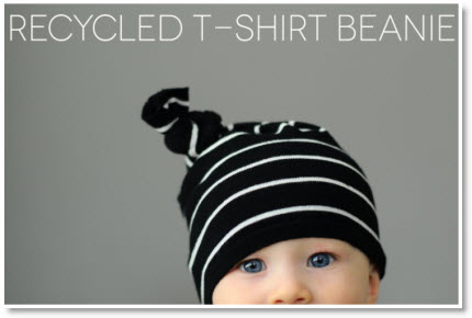 Recycled t-shirt beanie DIY