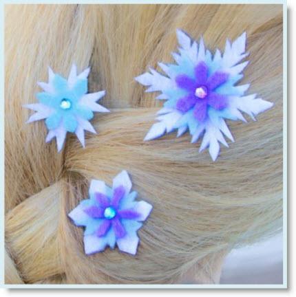 Elsa's Snowflake Hair Barrettes