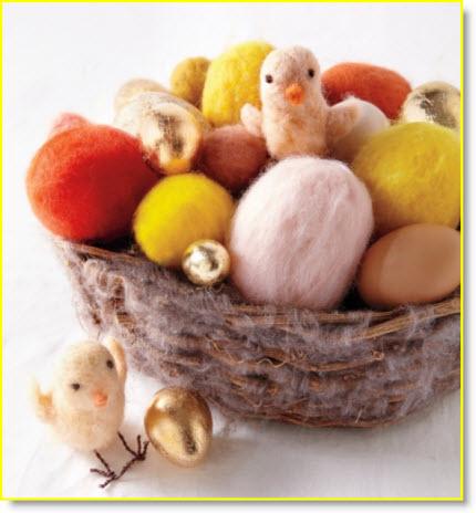 Felt chick & eggs