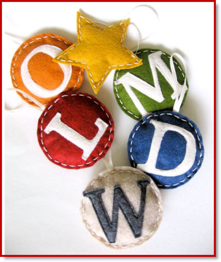Monogrammed Family Ornaments