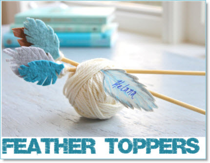 Feather topper knitting needles