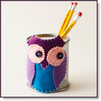 Pieced Felt Owl Pencil Holder
