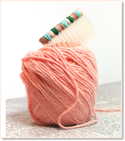 Yarn Wrapped Hair Comb