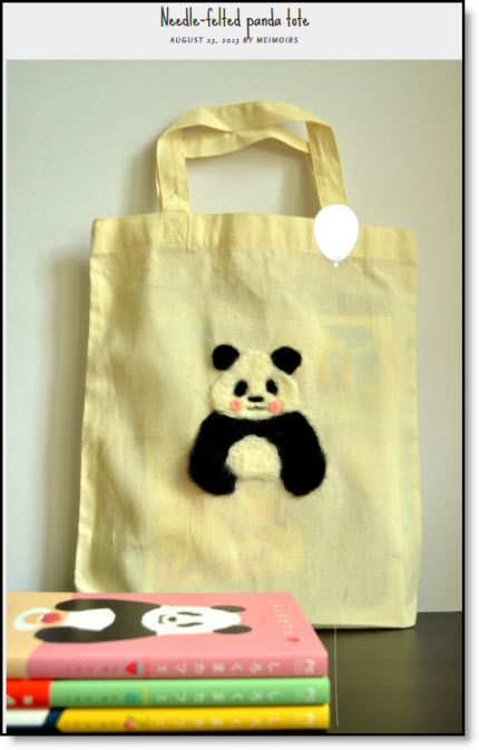 needle felted bear tote