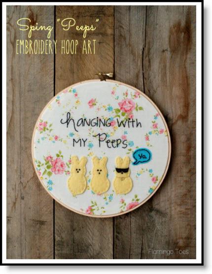 """Spring """"peeps embroidery hoop art tutorial felting"""
