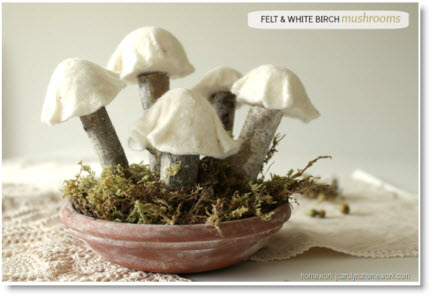 Felt White Birch Branch Mushrooms