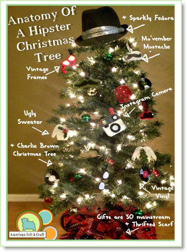 hipster christmas tree and felt ornament recap felting