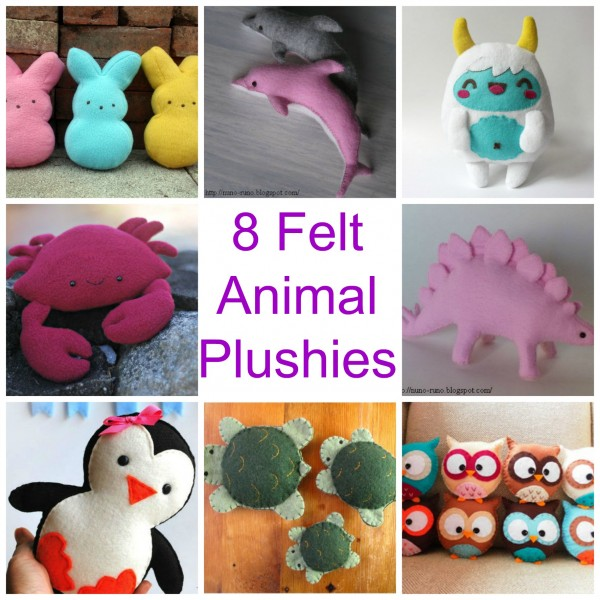 animals free felt plushie toy tutorials