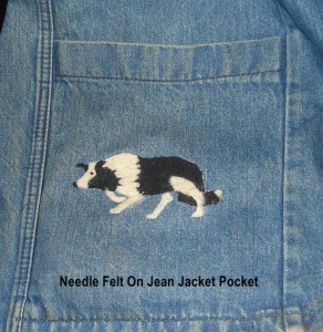 jean jacket pocket needlefelt