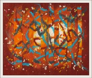 framed felt in the style of Jackson Pollock - mk ii