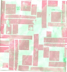 Pink and Green Stamped Sketchbook Page