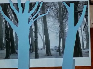 Trees in front of backdrop