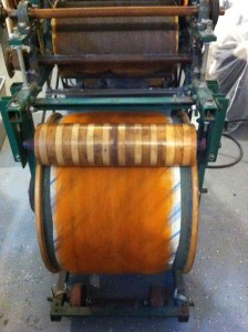 caded wool on drum