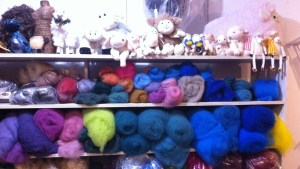 carded wool on shelf