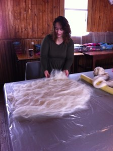 laying out wool