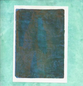 monoprint glue gree bronze