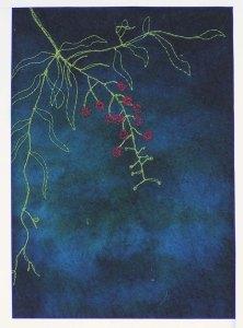 Free Motion Stitching on Felt - Berries