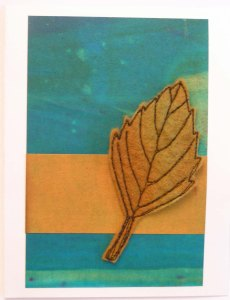 Felt Free Motion Stitched Rhomboid Leaf Card