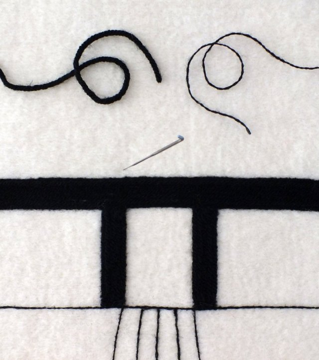 needle felting with yarn